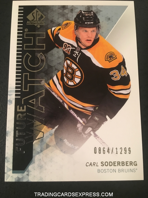 Carl Soderberg Bruins 2013 2014 SP Authentic Future Watch Rookie Card 214 0864 1299 Front