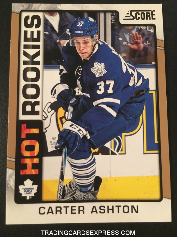 Carter Ashton Maple Leafs 2012 2013 Score Hot Rookies Gold Card 517 Front