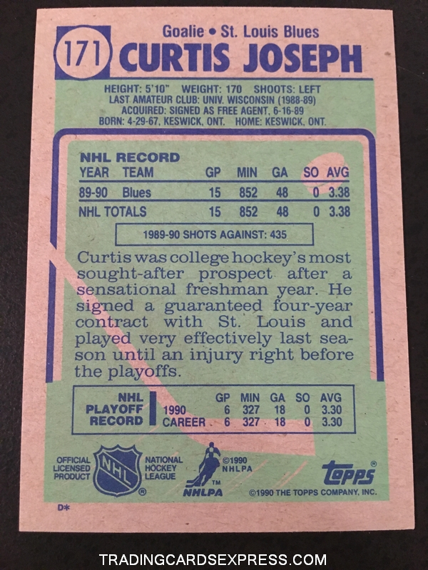 Curtis Joseph Blues 1990 1991 Topps Rookie Card 171 Back