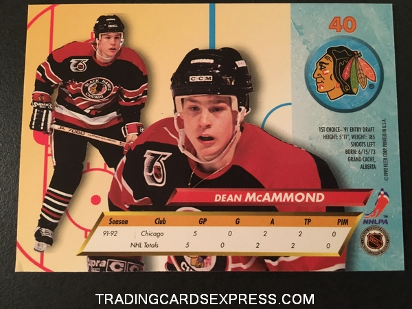 Dean McAmmond Blackhawks 1992 1993 Fleer Ultra Rookie Card 40 Back