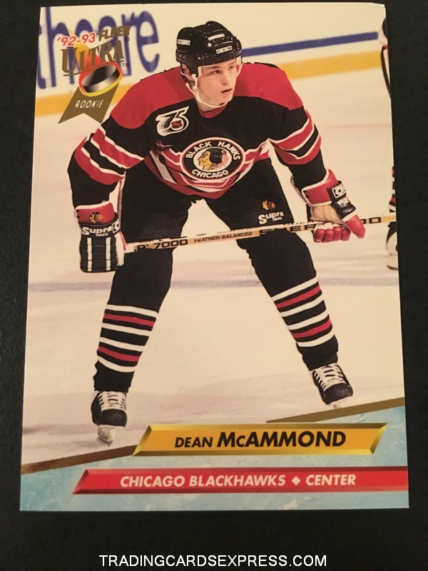 Dean McAmmond Blackhawks 1992 1993 Fleer Ultra Rookie Card 40 Front