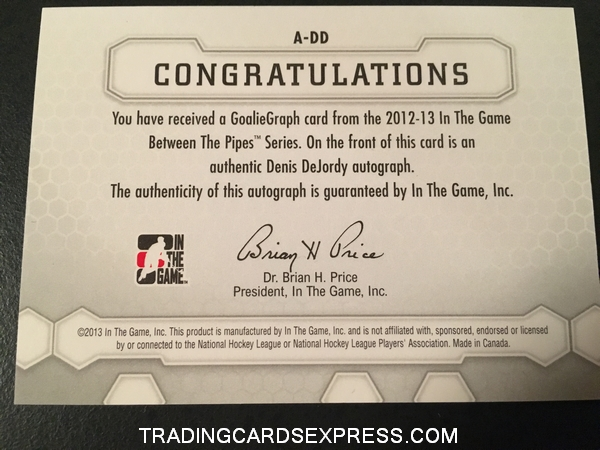 Denis DeJordy Blackhawks 2012 2013 ITG Between The Pipes SP Autograph Card ADD Back