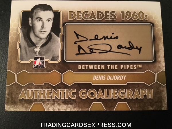 Denis DeJordy Blackhawks 2012 2013 ITG Between The Pipes SP Autograph Card ADD Front