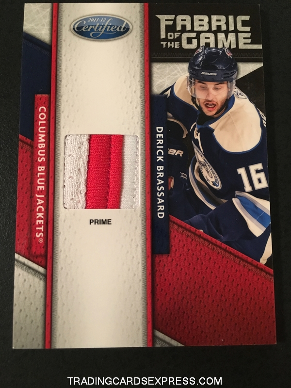 Derick Brassard Blue Jackets 2011 2012 Panini Certified Fabric Of The Game Prime Jersey Card 41 05 25 Front