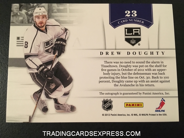 Drew Doughty Kings 2011 2012 Panini Contenders NHL Ink Autograph Card 23 Back