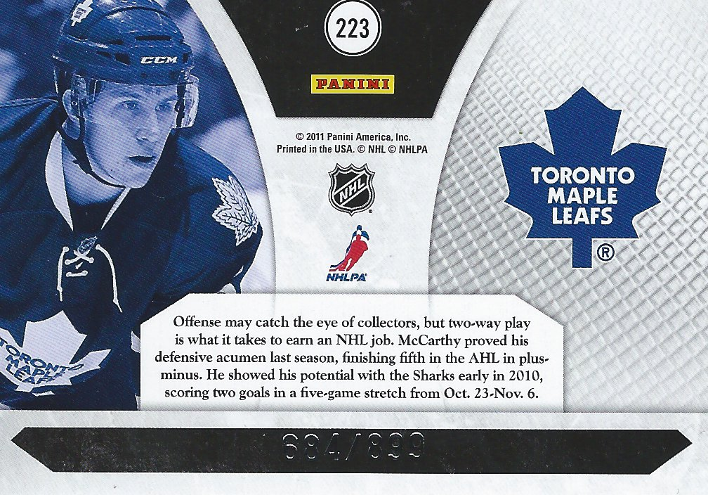 Keith Aulie - Card 223 - Panini Luxury Suite - 2010-2011 - Back
