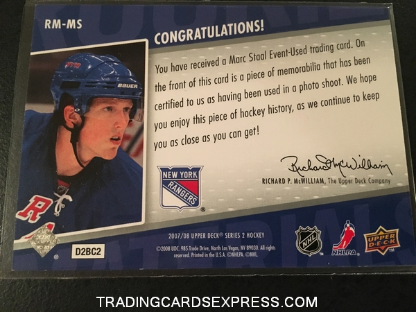 Marc Staal Rangers 2007 2008 Upper Deck Rookie Materials Jersey Rookie Card RMMS Back