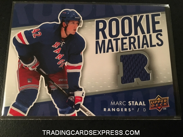 Marc Staal Rangers 2007 2008 Upper Deck Rookie Materials Jersey Rookie Card RMMS Front