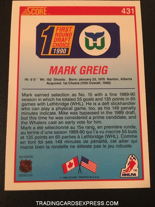 Mark Greig Whalers 1990 Score Rookie Card 431 Back