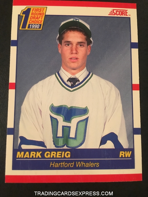 Mark Greig Whalers 1990 Score Rookie Card 431 Front