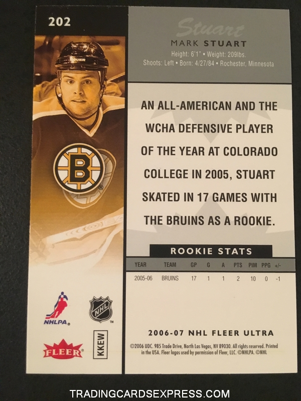Mark Stuart Bruins 2006 2007 NHL Fleer Ultra Rookie Card 202 Back